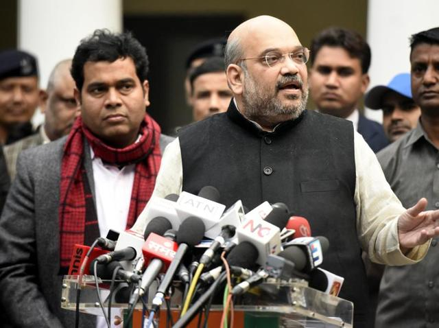 File photo of BJP President Amit Shah addressing media persons. Shah is set to steer the party for a second term when he complete his election formalities on January 25, 2016.