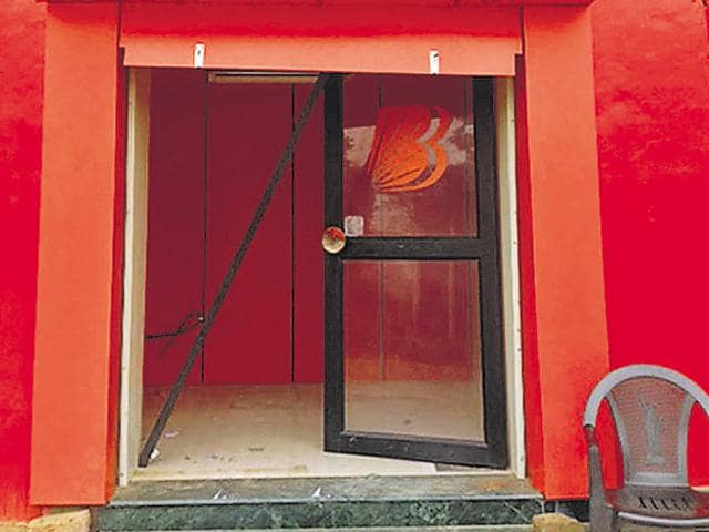 The ATM room from where the machine containing Rs 14 lakh was taken away by burglars in Patti district in Tarn Taran on Thursday.
