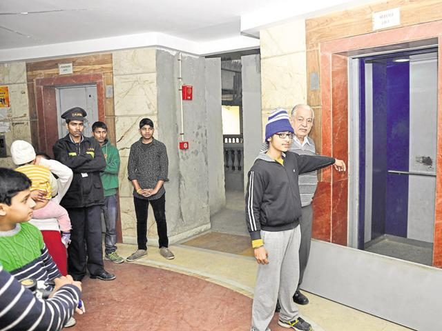 Rashvinder Singh was stuck in his residential society's lift between the ground and first floor on Wednesday morning.