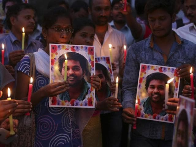 Ten professors of the University of Hyderabad have resigned from their administrative posts, deepening a crisis triggered by a Dalit scholar's suicide which has turned into a political slugfest between the BJP-led NDA government and the opposition