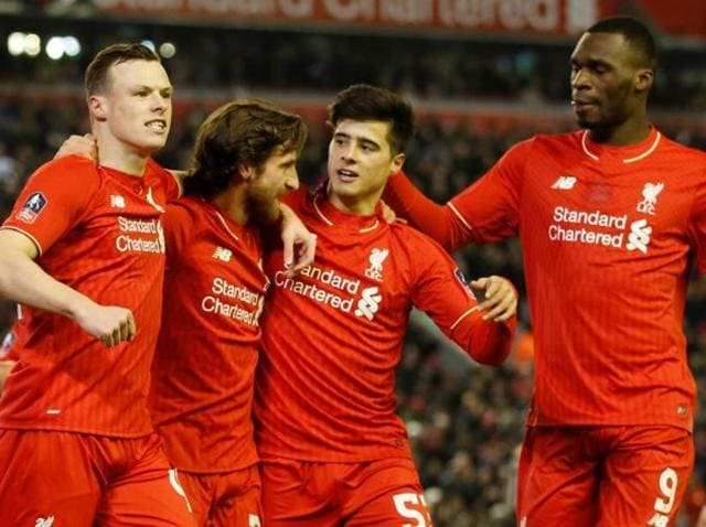 Liverpool's Sheyi Ojo celebrates after scoring during the English FA Cup third-round match between Liverpool and Exeter at Anfield on January 20, 2016.