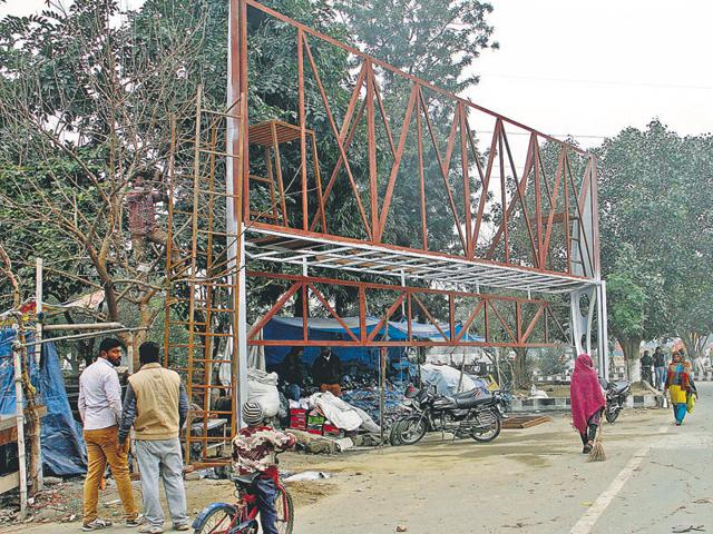 A bus queue shelter on Pakhowal Road in Ludhiana on Wednesday.