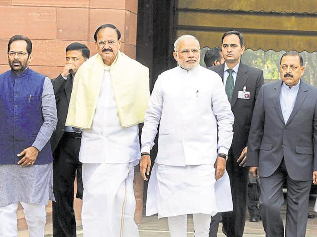 A file photo of PM Modi with a few of his ministers.