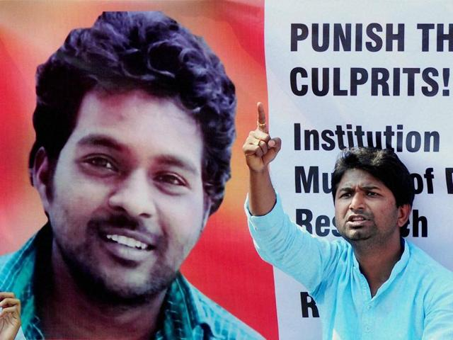 A member of the Social Fronts and Students Organisation in Nagpur protests against the death of Rohit Vemula, who was a student at the University of Hyderabad and killed himself.