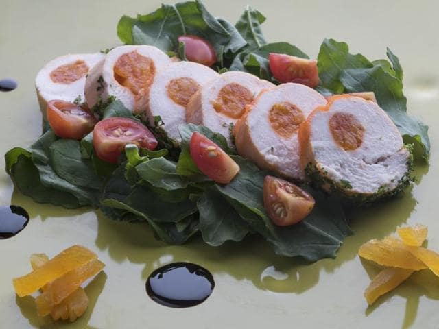 Chicken Roulade Stuffed with Apricot Jelly, by chef Mukul Jha.