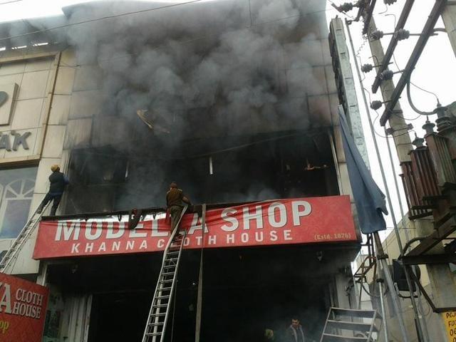 Fire outbreak at a shop in Model Town, Jalandhar.