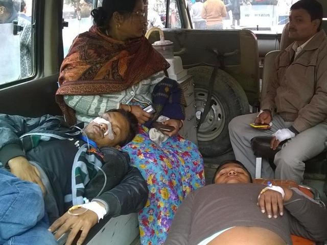 Injured divyangs at divisional hospital Varanasi