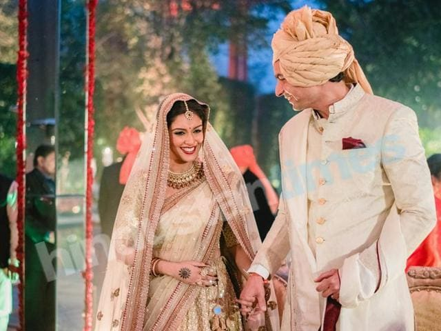 Asin looked stunning in her Sabyasachi lehenga at the Hindu wedding ceremony with husband Rahul Sharma who was not looking so bad either.