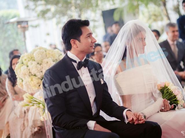 Rahul Sharma and Asin in her flowing Vera Wang gown at the morning's Christian ceremony.