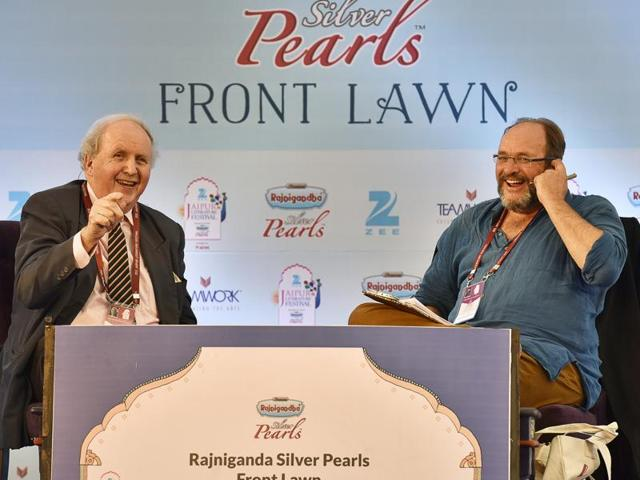 Author Alexander McCall Smith spoke about his characters and books, his craft and experiences that have often been the inspiration for his books at JLF 2016. Seen here, McCall Smith in conversation with William Dalrymple during a session at JLF 2016 in Jaipur on Thursday.