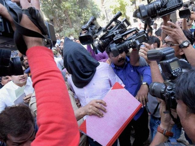 Hema Upadhyay Murder case accused Chintan Upadhyay being produced in a court, in Mumbai on Tuesday.