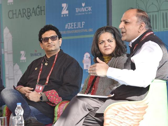 Left to right- Homi K Bhabha, Niyam Bhushan, Dayanita Singh and Pratap Bhanu during the session Total Recall: The End of Privacy at Jaipur Literature Festival 2016.(HT Photo)