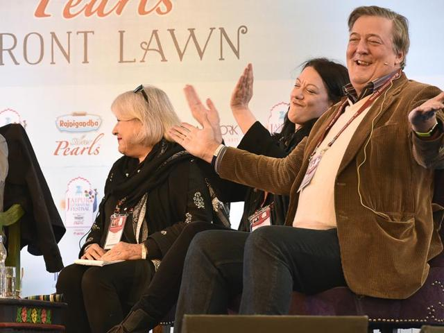 (Left to right) Samanth Subramanian, Brigid Keenan, Helen Macdonald and Stephen Fry at the session Selfie at JLF 2016 on Friday.