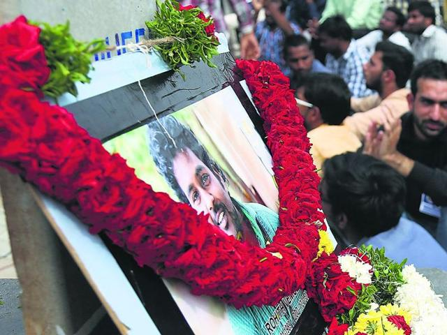 Students of various colleges protest over the death of Rohith Vemula of Hyderabad University, at Mumbai University.