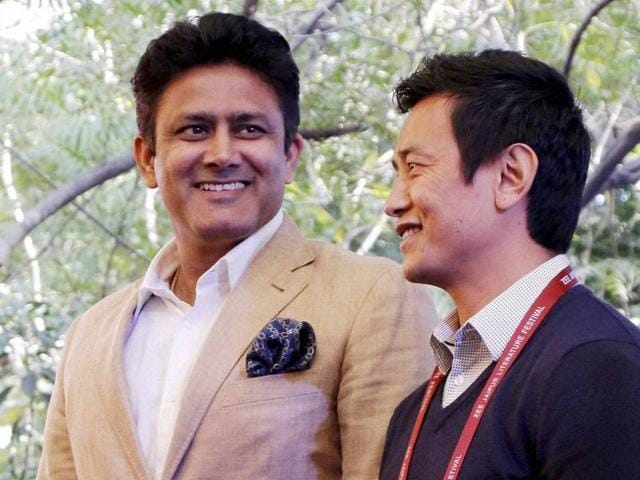 Former Indian cricketer Anil Kumble with former Indian Football player Baichung Bhutia during the Jaipur Literature Festival at Diggi Palace in Jaipur.