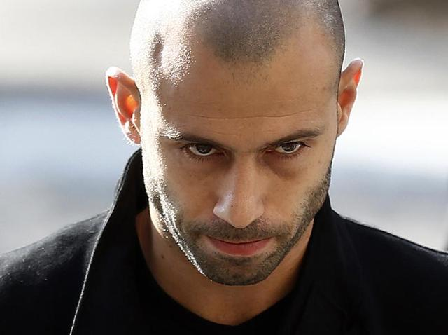 FC Barcelona's Javier Mascherano leaves the court after answering questions in a tax fraud case in Barcelona on January 21, 2016. Mascherano has accepted a one-year prison sentence for not properly paying taxes in Spain but is not expected to face any jail time.