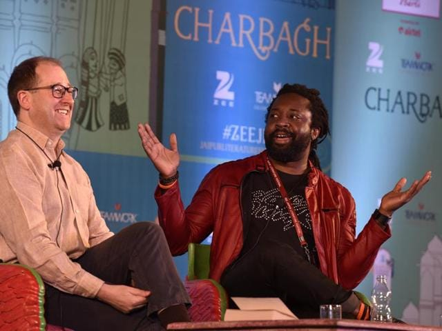 Marlon James (right) and Patrick French during the session A Brief History of Seven Killings at Jaipur Literary Festival 2016.