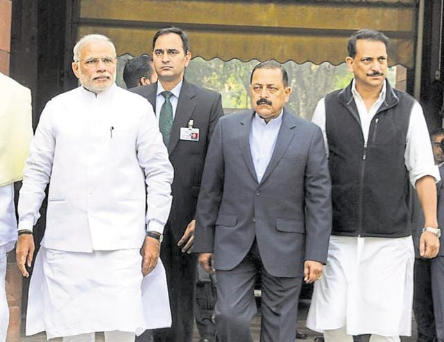 Prime Minister Narendra Modi walks with the minister of state (independent charge) for skill development and entrepreneurship Rajiv Pratap Rudy (extreme right) and other ministers in the cabinet during the winter session.