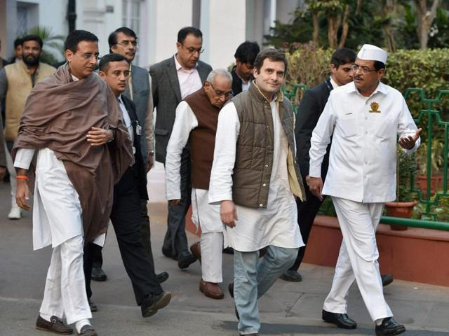 Congress vice-president Rahul Gandhi leaves after the national executive meeting of All India Congress Seva Dal at AICC headquarters in New Delhi.