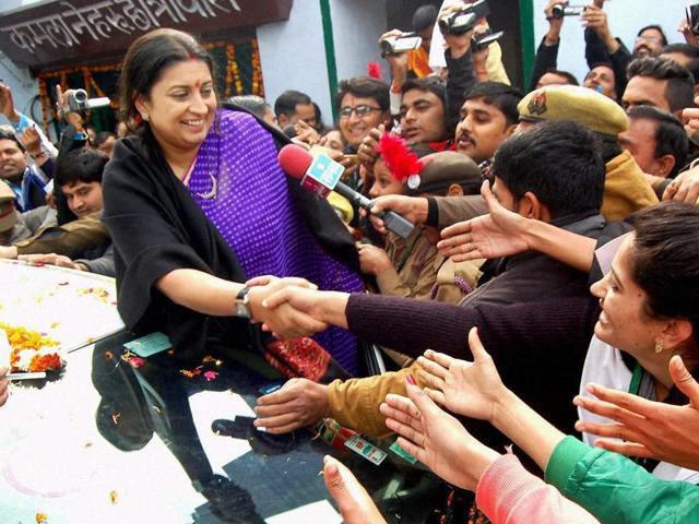 Union HRD minister Smriti Irani meeting students at Tika Ram Degree College during its 150th anniversary celebrations in Aligarh on Thursday.
