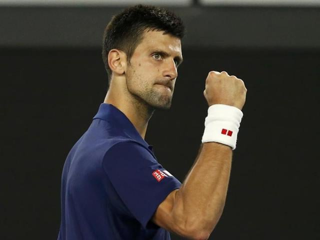 Novak Djokovic reacts during his third round match against Italy's Andreas Seppi at the Australian Open.
