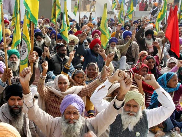 Farmers protesting in Bathinda on Friday.