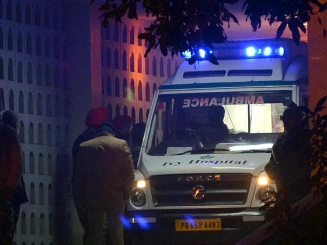Sources said Badal was shifted to the hospital's respiratory intensive care unit on a wheelchair around 10.25 pm.(HT Photo)