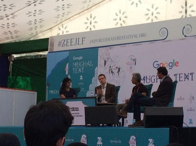 Left to right: Scientist, writer, broadcaster Aarathi Prasad,Scottish physician and writer Gavin Francis and surgeon, public health researcher, and author Atul Gawande.
