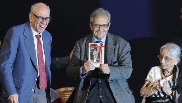 (L to R) Prof. Gordon, Prof.   Amartya Sen, Krishna Bose, during book release function on the 120th Birth Anniversary of Netaji Subhas Chandra Bose at Netaji's residence Netaji Bhavan in Kolkata India on Saturday January 23rd, 2016.