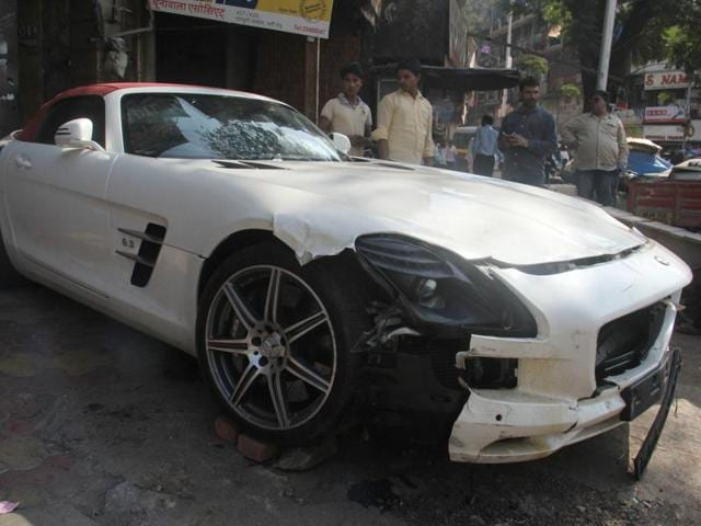 The Mercedes car at Pydhonie police station on Friday.