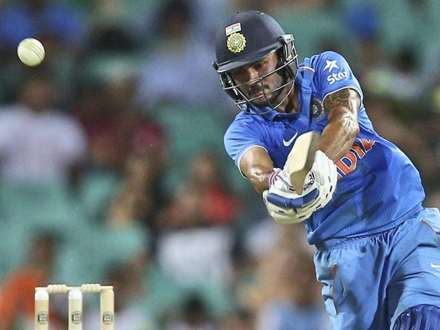 Manish Pandey plays a shot during their One Day International cricket match against Australia.