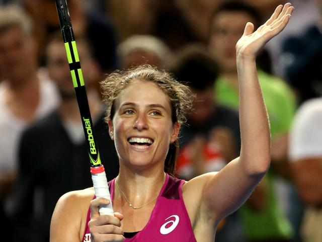 Johanna Konta of Britain celebrates after defeating Denisa Allertova of the Czech Republic in their third round match at the Australian Open in Melbourne onJanuary 23, 2016.
