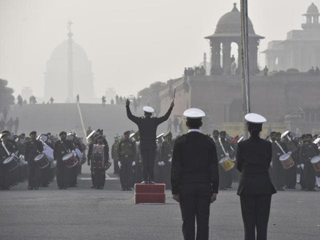 Security beefed up for the upcoming Republic day celebrations at Mansingh Road, in New Delhi, India, on Friday, January 22, 2016.