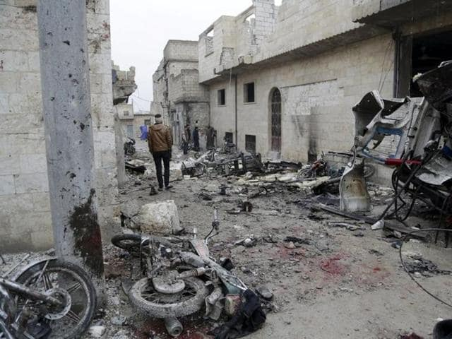 Bloodstains are seen at a site hit by what activists said were three consecutive air strikes carried out by the Russian air force in the rebel-controlled area of Maaret al-Numan town in Idlib province of Syria.