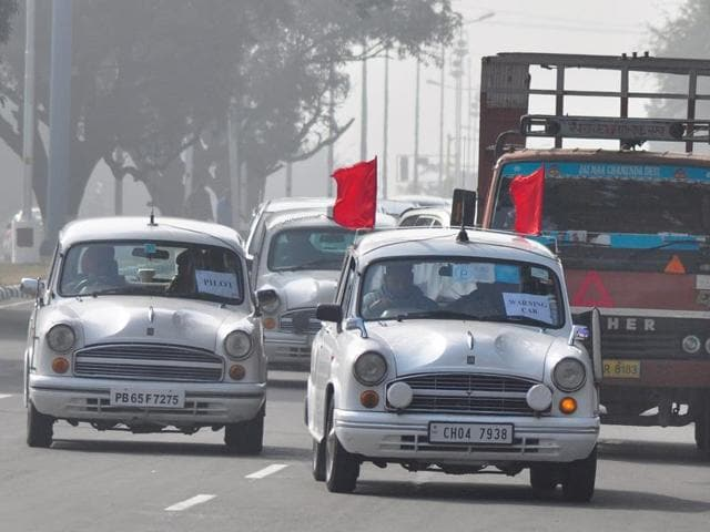 A truck stuck between official vehicles during a mock drill ahead of the VVIP's visit in Chandigarh on Friday.