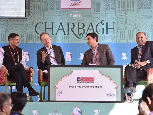 Arvind Subramanian (left), Sebastain Mallaby, Thomas Piketty and Pratap Bhanu Mehta during the session Capital at the Jaipur Literature Festival 2016 in Jaipur, India on Saturday.