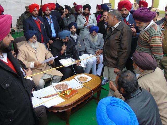 Chief minister Parkash Singh Badal in Nawanshahr on Friday.