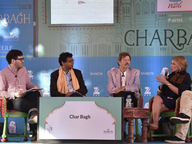 From left: Session moderator Jonathan Shainin, Atul Gawande, Alex Shoumatoff, Marie Brenner and, and Raghu Karnad during the session Longform at the Jaipur Literature Festival 2016 in Jaipur on Friday.(Sanjeev Verma/HT Photo)