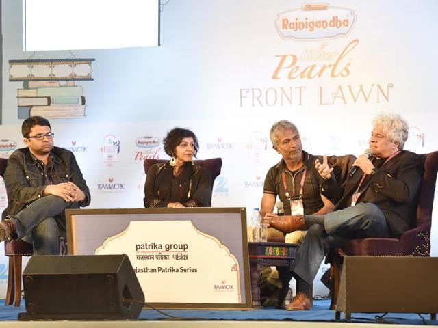 Left to right: Sidin Vadukut, Meera Syal, Ashok Ferrey and Suhel Seth during a session on What Makes South Asians Laugh at Jaipur.
