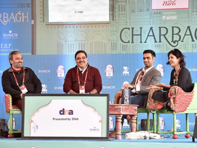 From left: Jai Arjun Singh, Ravi Subramanian, Ravinder Singh and Anuja Chauhan during the session The Craft of the Best seller at the Jaipur Literature 2016, in Jaipur, on Saturday.