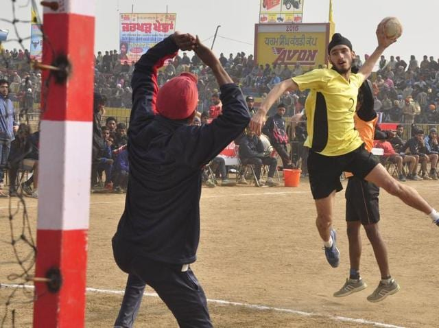Players in action during the last  day of the 30th Jarkhar Games in Ludhiana on Saturday.