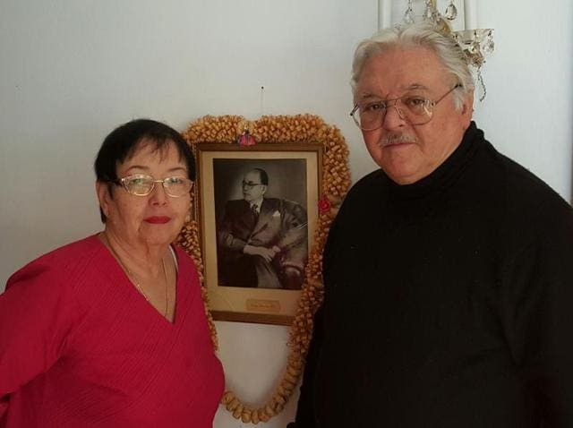 Anita Bose Pfaff, daughter of Subhas Chandra Bose, with her husband, Martin Pfaff, in their residence in Augsburg, Germany.