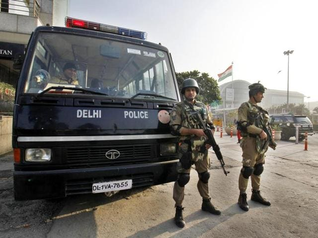 Delhi Police Swat commandos on alert as security beefed up for the upcoming Republic Day Celebrations at Select City Walk, Saket in New Delhi on Thursday.