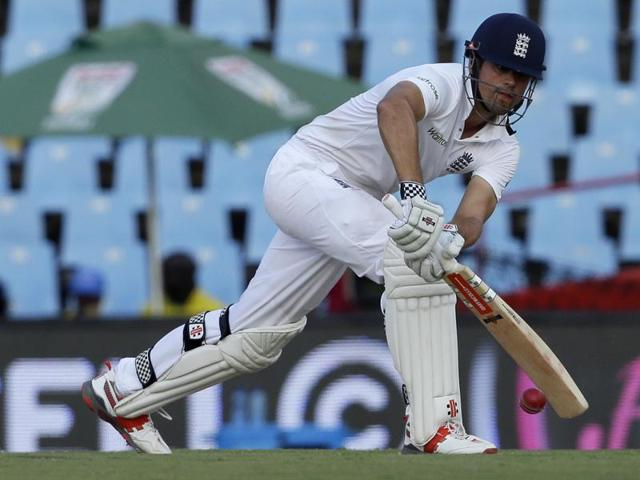 England's captain Alastair Cook plays a shot during the fourth cricket test match against South Africa.