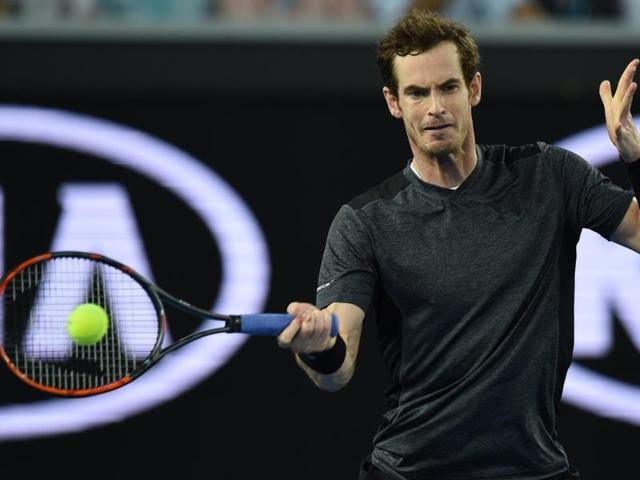 Andy Murray hits a shot during his third round match against Portugal's Joao Sousa at the Australian Open.