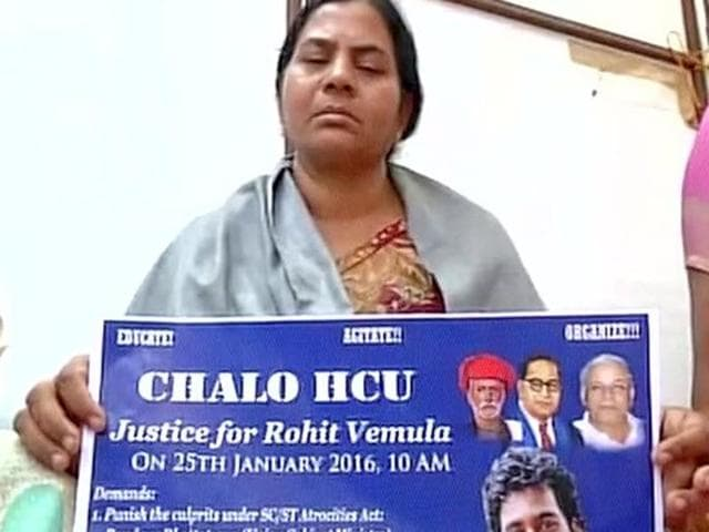 Rohith Vemula's mother sitting on protest against the death of the Dalit scholar.