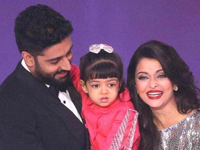 Aishwarya Rai Bachchan with daughter Aaradhya and husband Abhishek.