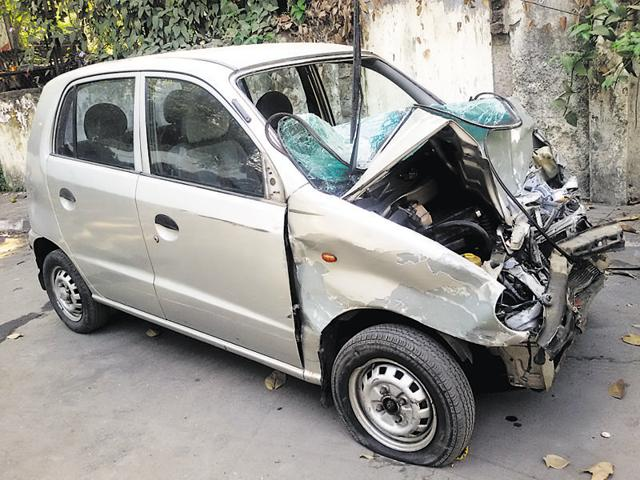 After preliminary investigations, the police said one of Rebello's car tyres (a Hyundai Santro) burst because of which she lost control opposite Suba Hotel at Sahar Road.