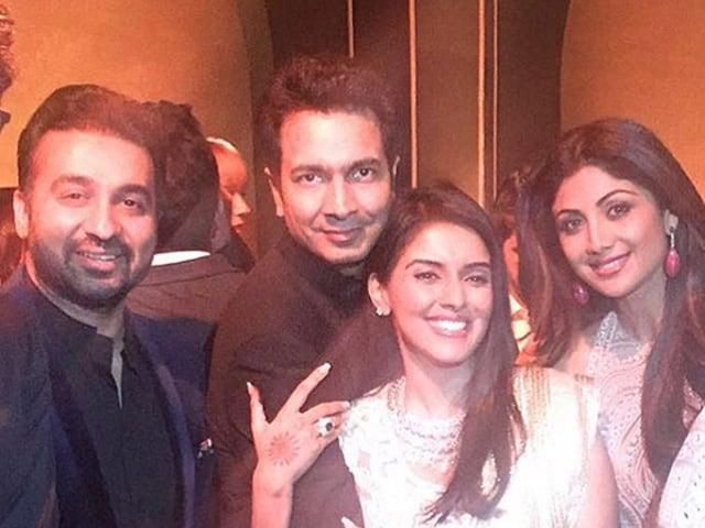 Asin and Rahul Sharma with Shilpa Shetty and her husband Raj Kundra at the reception party in Mumbai.