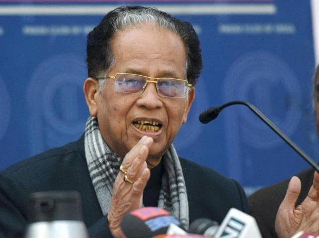 Assam chief minister Tarun Gogoi speaks during a press conference in New Delhi.